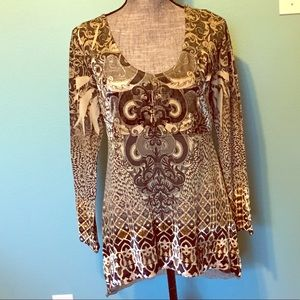 Energe' Tunic Top Velvet Accents sz Small